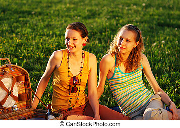 Girls on picnic