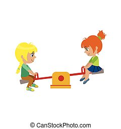 Girls On Seesaw Playground - Girls On Seesaw On Playground ...