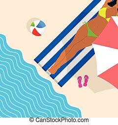girls on the beach illustration