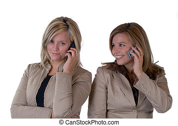 Girls On The Phone - Two Beautiful Young Women Talking On A...