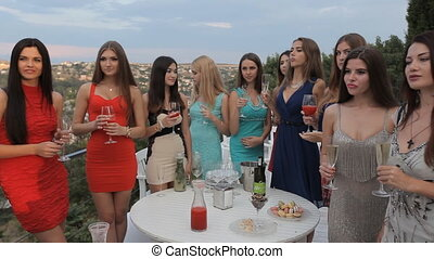 Girls on the restaurant terrace with a gorgeous view