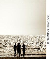 girls on the sea beach