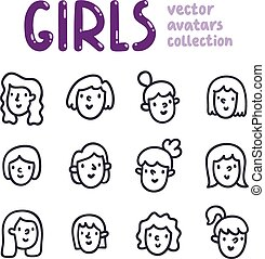 Girls outline vector avatars collection