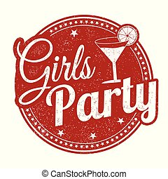 Girls party grunge rubber stamp
