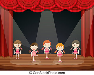 Girls perform ballet on stage
