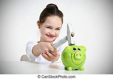 girl's piggy bank