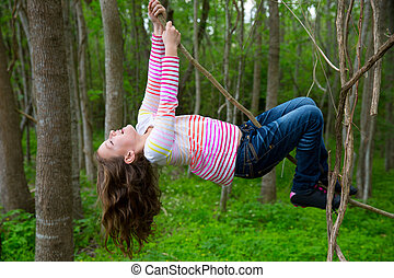girls playing hanging in earbuds at the jungle park