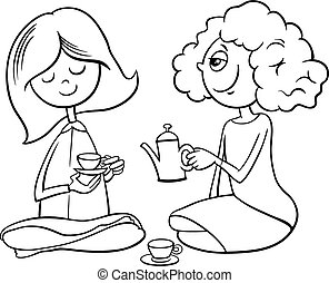 girls playing house coloring book