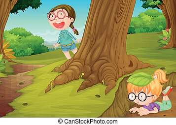 girls playing in nature - illustration of girls playing in...