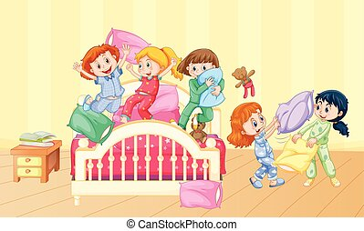 Girls playing pillow fight at slumber party illustration