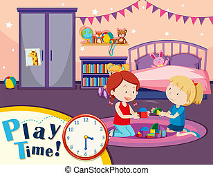 Girls playing toys in bedroom