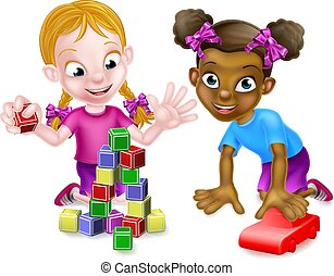 Girls Playing With Building Blocks and Car