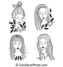 Girls portraits different hairstyle