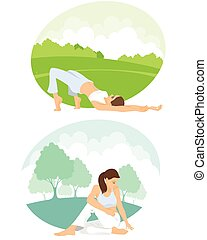 Girls practicing yoga