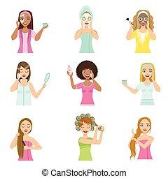 Girls Preening Up Using Masks And Creams