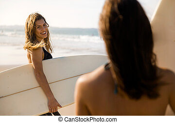 Girls ready for surfing
