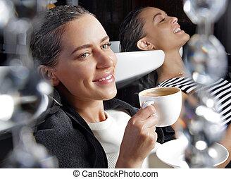 Girls relaxing in the beauty salon