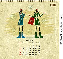Girls retro calendar 2014 for your design, january