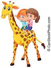 Girls riding giraffe on white background