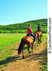 girls riding horses - teenage girls and their horses are...