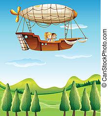 Girls riding in an airship