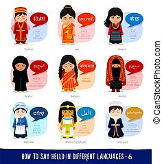 Girls saying hello in foreign languages.