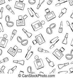 Girls seamless pattern with cosmetics elements