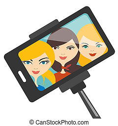 Girls selfie photo. - Illustration of three young girls...
