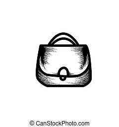 girls shopping bag hand drawn icon vector illustration