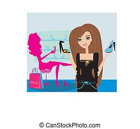 girls shopping in shoe shop