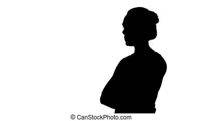 Girl's silhouette with arms crossed on white background