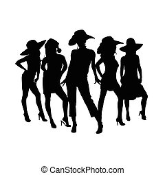 girls silhouette with hats in black color illustration