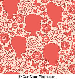 Girls silhouettes among flowers seamless pattern background
