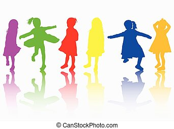 girls silhouettes color