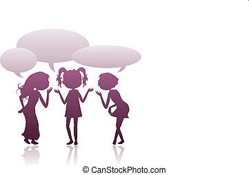 girls silhouettes talking