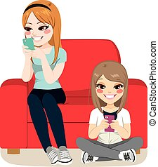 Girls Smartphone Addiction - Girls with Smartphone addiction...