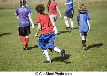 Girls Soccer Match - Photo of a girls soccer match.