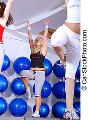 girls stepping in a fitness center - group of young girls ...