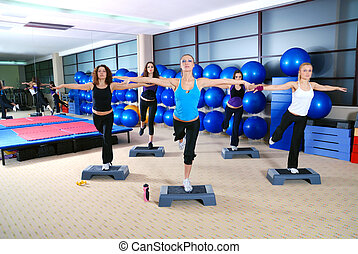 girls stepping in a fitness center - group of girl...
