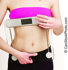 girls stomach measuring with tape isolated on white background, skiny woman on diet, healthcare people concept