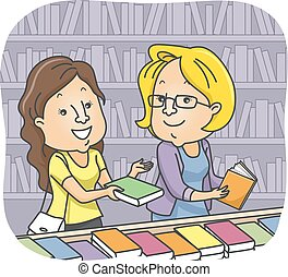 Illustration of a Girl at Bookstore Recommending a Book to Another Customer
