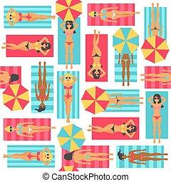 Girls sunbathe in the beach. Seamless pattern.