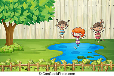 Girls swimming in a pond