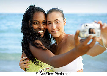 Girls taking a picture while on holiday