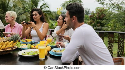 Girls Taking Photos Of Healthy Vegetarian Food On Cell Smart...