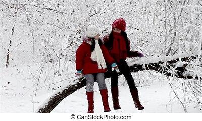 Girls talking on a tree in winter