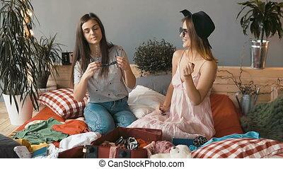 Girls Try on Sunglasses
