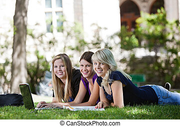 Girls using laptop