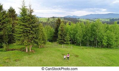 Girls walking at meadow - Two young girls walking at green...