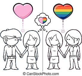 Iconic illustration of two couples, one straight and one lesbian, holding hands. Both couples share the same female character. EPS v.10. Easy to change colours; all objects neatly in layers and groups. Transparency is used on the hart's shading. Enjoy!!!